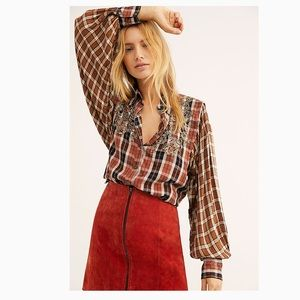 Free People Snow Top Mountains Plaid Shirt